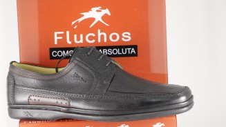 FLUCHOS ZAPATO CORDON NEGRO BORDO Y RIBETES